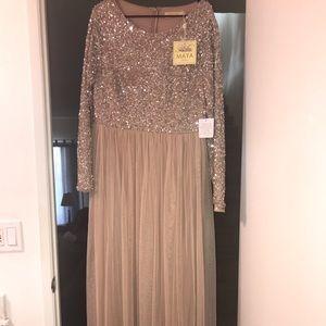 Maya Bridesmaid long sleeve maxi dress new w/ tags